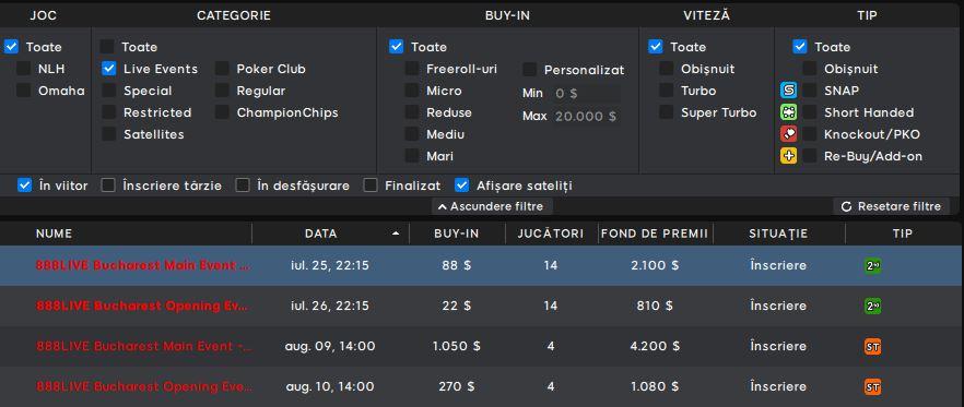 sateliti calificare 888live poker bucuresti
