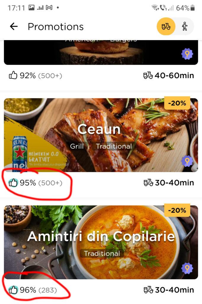 rating restaurant glovo